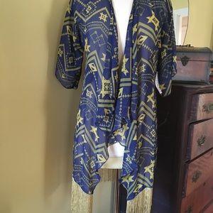 Lularoe Monroe kimono with golden fringe!